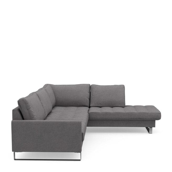 Rivièra Maison Loungebank 'West Houston' Rechts, Oxford Weave, kleur Steel Grey