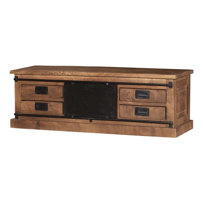 LivingFurn TV-meubel 'Tamar' Mangohout en staal