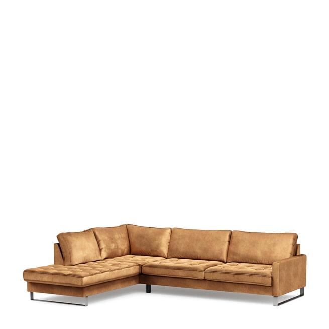 Rivièra Maison Loungebank 'West Houston' Links, Velvet, kleur Cognac