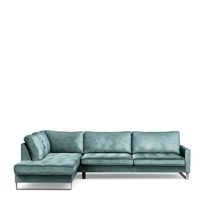 Rivièra Maison Loungebank 'West Houston' Links, Velvet, kleur Mineral Blue