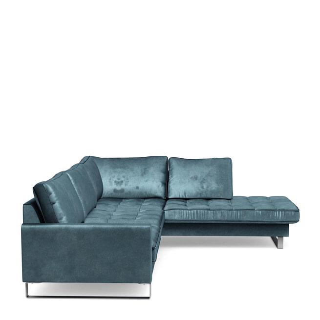 Rivièra Maison Loungebank 'West Houston' Rechts, Velvet, kleur Petrol