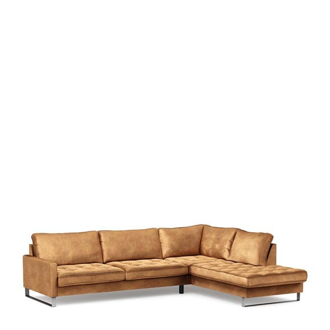 Rivièra Maison Loungebank 'West Houston' Rechts, Velvet, kleur Cognac