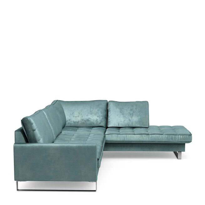 Rivièra Maison Loungebank 'West Houston' Rechts, Velvet, kleur Mineral Blue