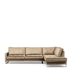 Rivièra Maison Loungebank 'West Houston' Rechts, Velvet, kleur Golden Beige