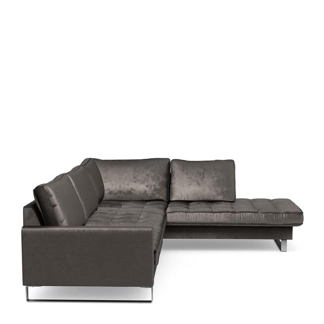 Rivièra Maison Loungebank 'West Houston' Rechts, Velvet, kleur Grimaldi Grey