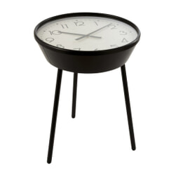 J-Line Bijzettafel 'Armand' met klok, Ø53cm