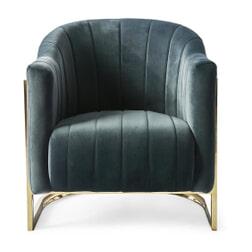 Rivièra Maison Fauteuil 'Elysee' Velvet, kleur Midnight Grey
