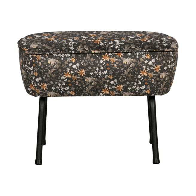 BePureHome Hocker 'Vogue' Velvet, kleur Flower Zwart