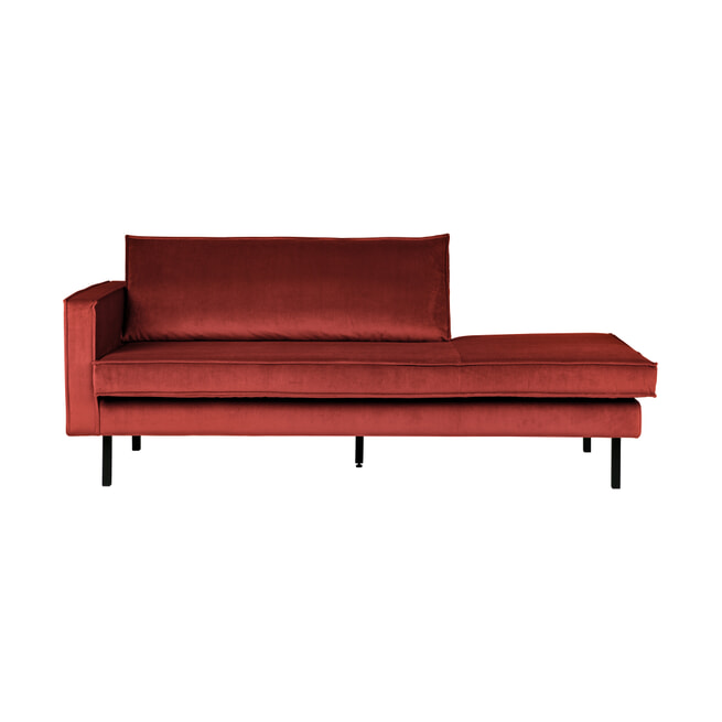 BePureHome Daybed 'Rodeo' Links, Velvet, kleur Chestnut