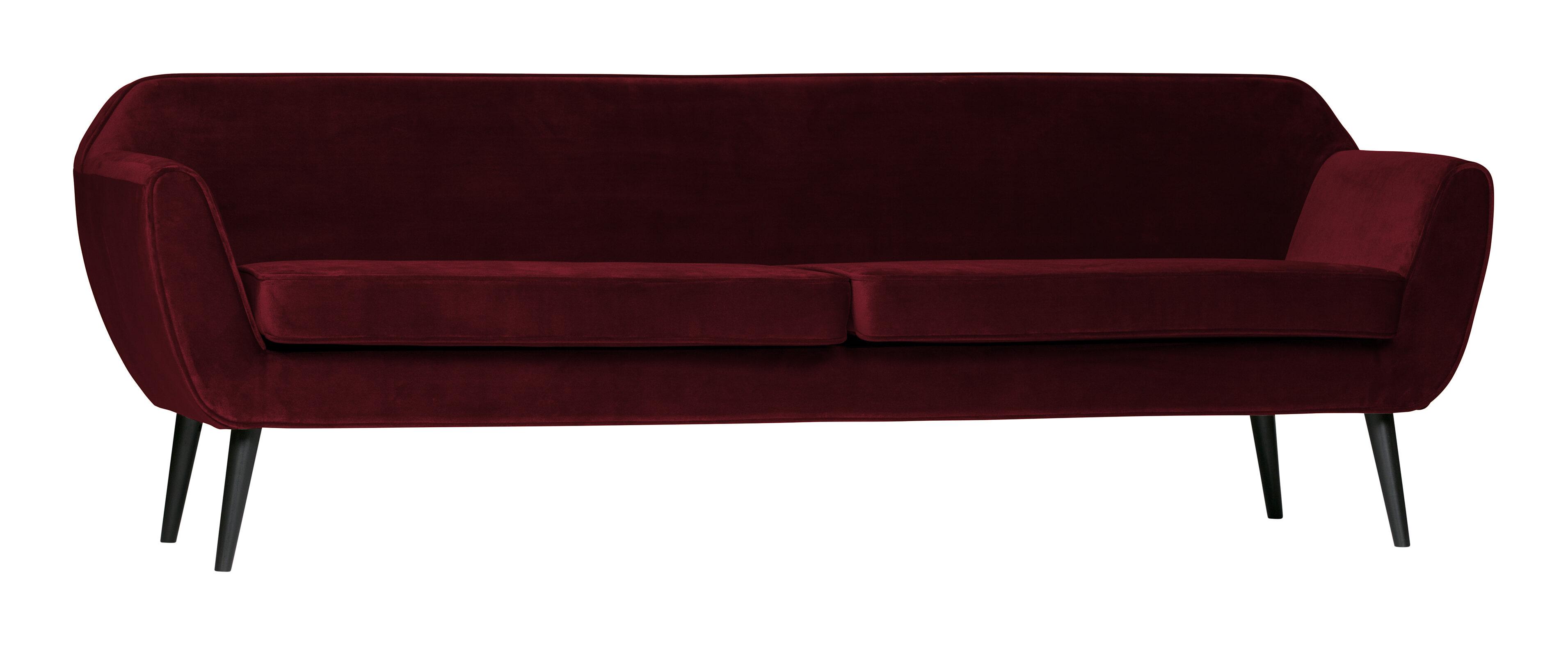 WOOOD Bank 'Rocco' 4-zits, Velvet, kleur Rood