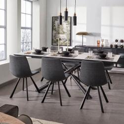 Kave Home Uitschuifbare Eettafel 'Theone' Wit Marmer, 160-210 x 90cm
