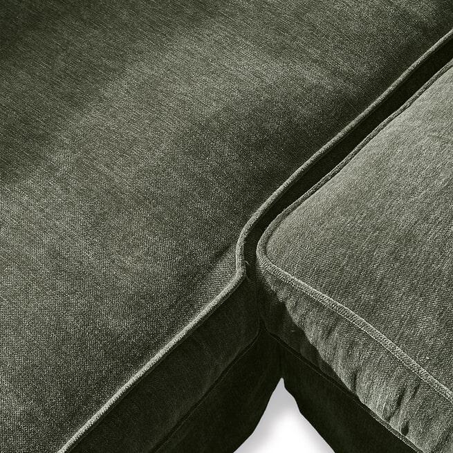 Rivièra Maison Loungebank 'Brompton Cross' Rechts, Velvet, kleur Ivy