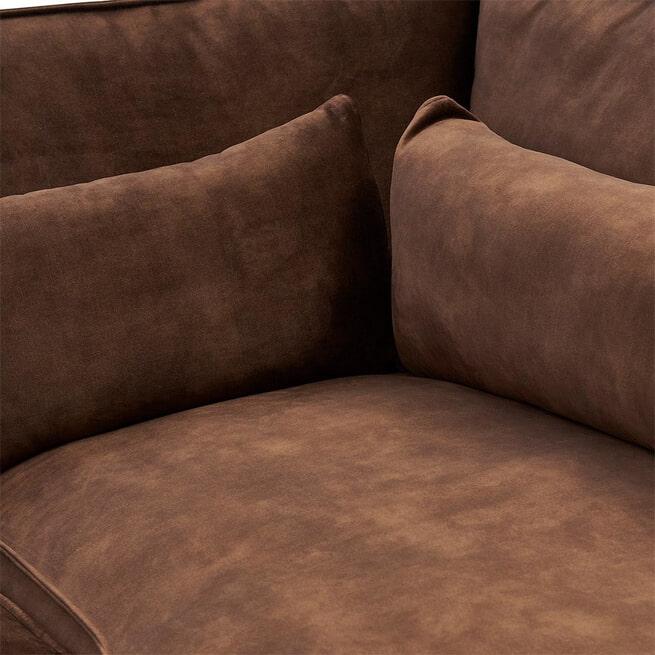 Rivièra Maison Loungebank 'Brompton Cross' Rechts, Velvet, kleur Chocolate