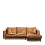 Rivièra Maison Loungebank 'Kendall' Rechts, Velvet, kleur Cognac