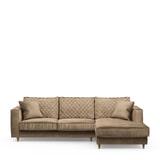 Rivièra Maison Loungebank 'Kendall' Rechts, Velvet, kleur Golden Beige