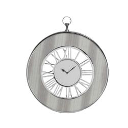 PTMD Klok 'Tick', Aluminium en Hout, 65 x 60 x 5cm, kleur Zilver