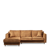 Rivièra Maison Loungebank 'Kendall' Links, Velvet, kleur Cognac
