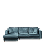 Rivièra Maison Loungebank 'Kendall' Links, Velvet, kleur Petrol
