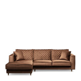 Rivièra Maison Loungebank 'Kendall' Links, Velvet, kleur Chocolate
