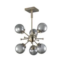 PTMD Hanglamp 'Bradley', Glass, 170 x 54cm, 6-lamps, kleur Goud