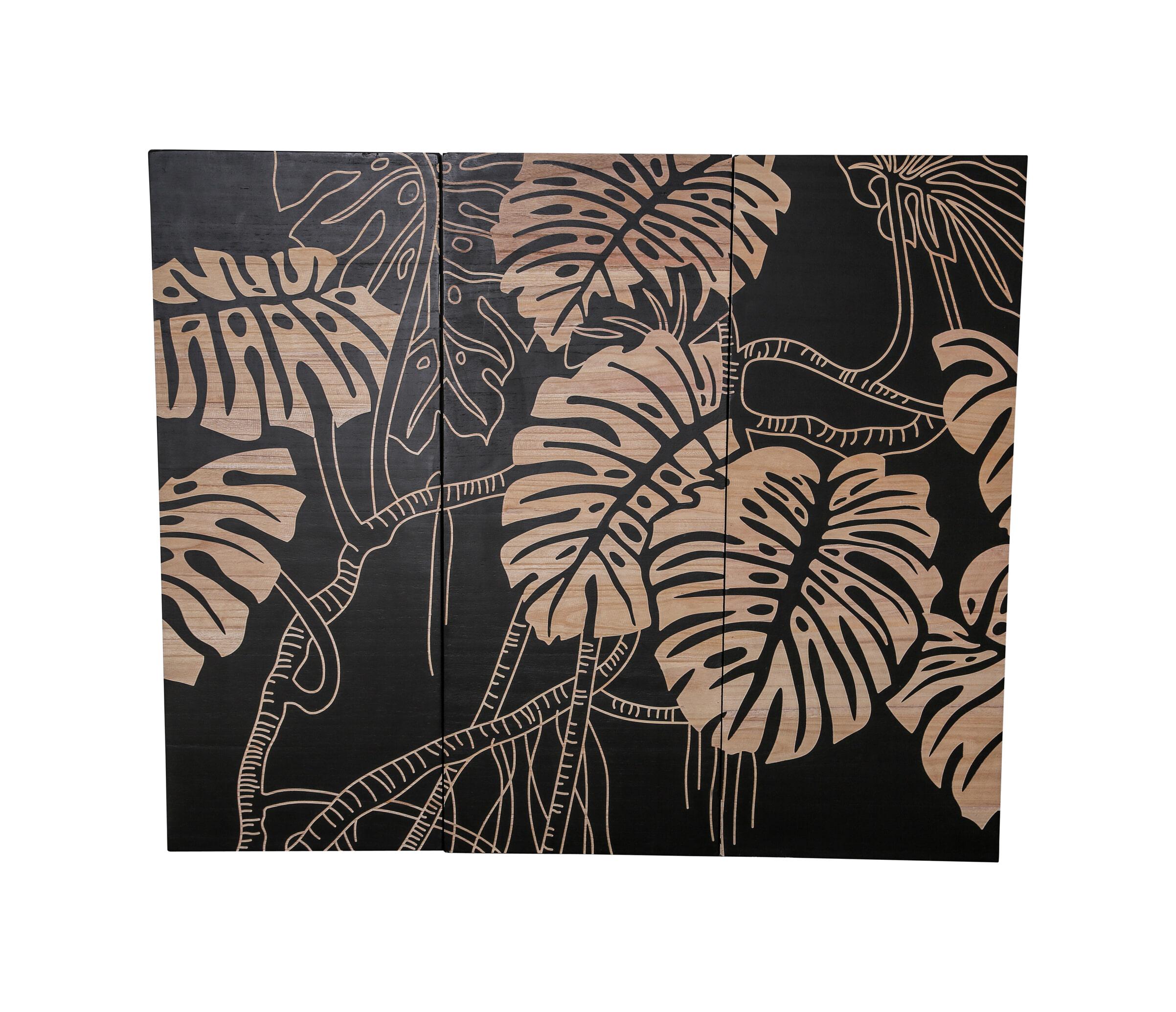 PTMD Wandpaneel 'Neron Leaves', Hout, 120 x 145cm, kleur Bruin