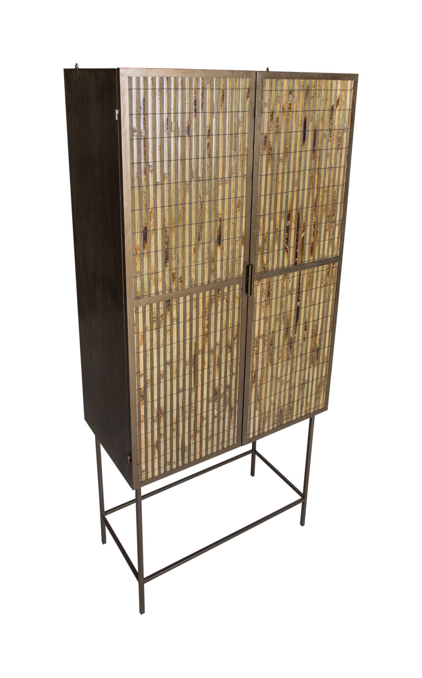 PTMD Opbergkast 'Metal', Bamboe, 178 x 43.5 x 81.5cm, kleur Bruin