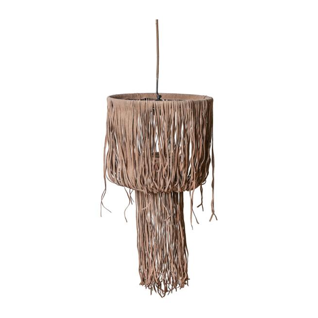 PTMD Hanglamp 'Renzol', Suede, 70 x 35cm, kleur Beige