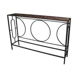 PTMD Sidetable 'Dena', Metaal, 120 x 77.5 x 24cm, kleur Zwart