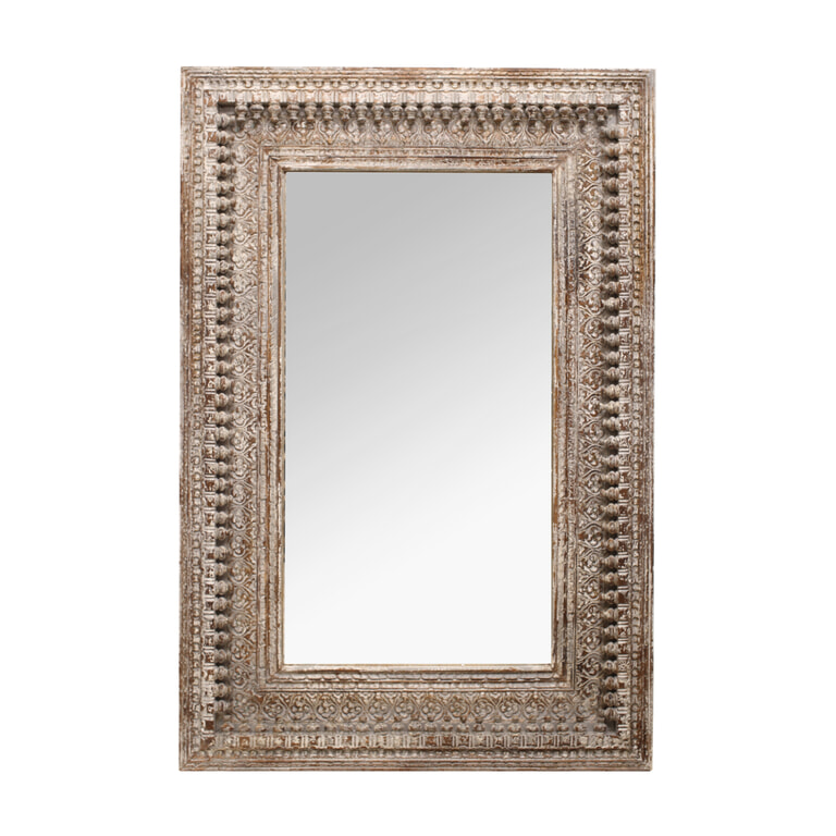 PTMD Spiegel 'Jali Grey', Mangohout, 150 x 100 x 5cm, kleur Bruin