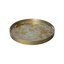 PTMD Dienblad 'Dania, Metaal en Glas, 48 x 4.5cm, kleur Goud