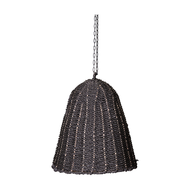 PTMD Hanglamp 'Lars'l, Geweven zeegras, 50 x 40 x 40cm, kleur Zwart