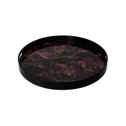 PTMD Dienblad 'Dania', Metaal en Glas, 48 x 4.5cm, kleur Paars