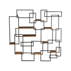 PTMD Wandkast 'Hummer', Hout en Metaal, 100 x 100 x 18cm, kleur Bruin