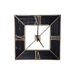 PTMD Klok 'Rolf', Metaal en Hout, 60 x 60 x 3.5cm, kleur Zwart