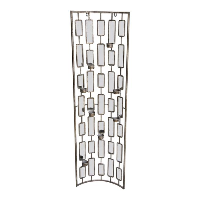 PTMD Spiegel met theelichthouders 'Elzer', Metaal en Glas, 122 x 35.5 x 10cm, kleur Grijs