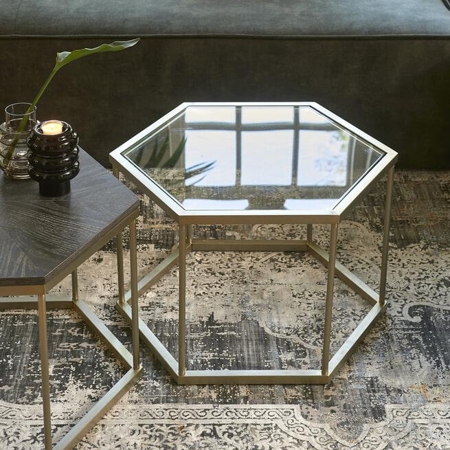 Rivièra Maison Bijzettafel 'Costa Mesa' Glas