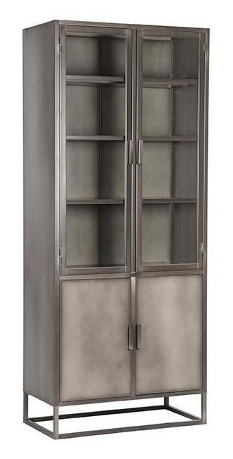 LABEL51 Vitrinekast 'Level', Metaal, 80 x 40 x 190cm, kleur Grijs