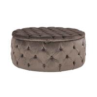 Richmond Poef 'Lulu' Velvet, Ø100cm, kleur Stone (met opbergruimte)