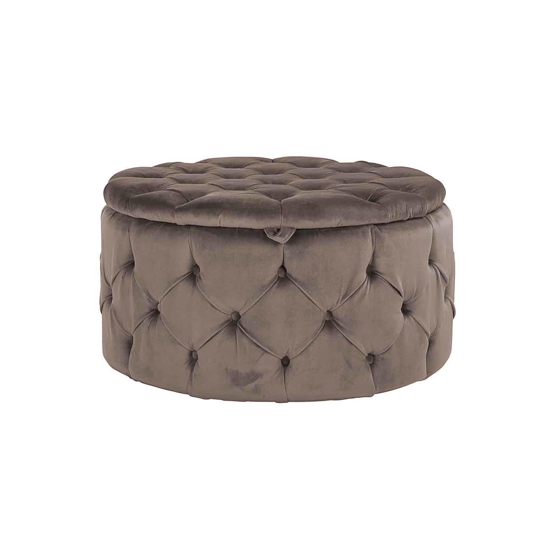 Richmond Poef 'Lulu' Velvet, Ø80cm, kleur Stone (met opbergruimte)