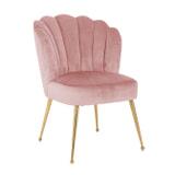 Richmond Eetkamerstoel 'Pippa' Velvet, kleur Roze / Goud