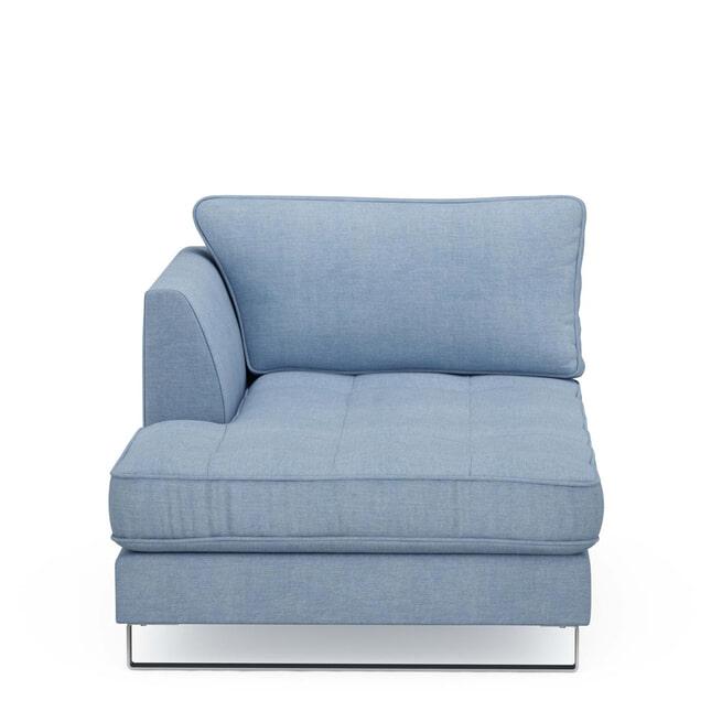 Rivièra Maison Chaise Longue 'West Houston' Links, Washed Cotton, kleur Ice Blue