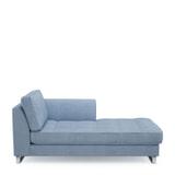 Rivièra Maison Chaise Longue 'West Houston' Rechts, Washed Cotton, kleur Ice Blue