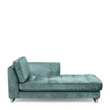 Rivièra Maison Chaise Longue 'West Houston' Rechts, Velvet, kleur Mineral Blue