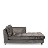 Rivièra Maison Chaise Longue 'West Houston' Rechts, Velvet, kleur Grimaldi Grey
