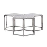 Richmond Salontafel 'Penta' set van 3, RVS, kleur Zilver