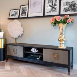Richmond TV-meubel 'Bloomingville' Eiken, kleur Zwart / Goud, 185cm