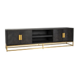 Richmond TV-meubel 'Blackbone' Eiken, kleur Zwart / Goud, 220cm