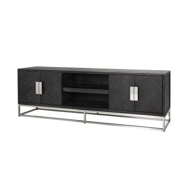 Richmond TV-meubel 'Blackbone' Eikenhout en Staal, kleur Zwart / Zilver, 185cm