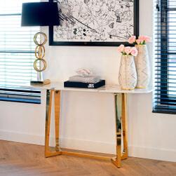 Richmond Sidetable 'Dynasty' Faux Marmer en Staal, 150cm