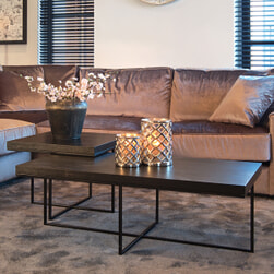 Richmond Salontafel 'Oakura' Eikenhout en Staal, kleur Zwart, 120 x 60cm